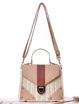 Fashion Patchwork Versatile Straw Bags