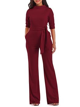 Fashion Half Sleeve Casual Women Jumpsuit