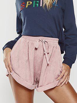Fashion Solid Loose Casual Short Pants