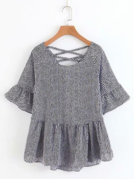 Striped Round Neck Ruched Female Blouse