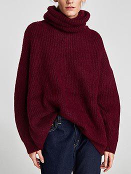 Euro High Neck Solid Loose Long Sweatshirt