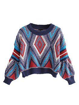 Fashion Hot Sale Colorblock Geometric Sweater