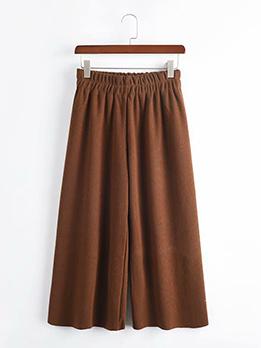 Fashion Wide Leg Solid Elastic Pants