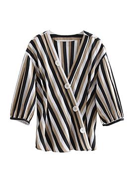 Striped V Neck Contrast Color Blouses