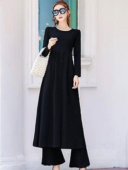Modern Solid Slit Dresses With High Waist Pants