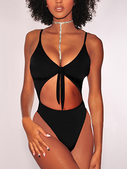 Euro Hot Sale Low-Cut Tie-Wrap Solid Bikini Sets
