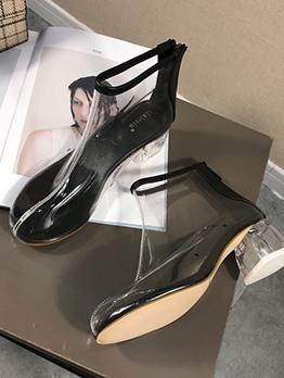 Euro Crystal Heel Zipper Up Clear Boots