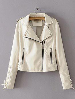 Fashion Cool Solid Zipper PU Short Coats