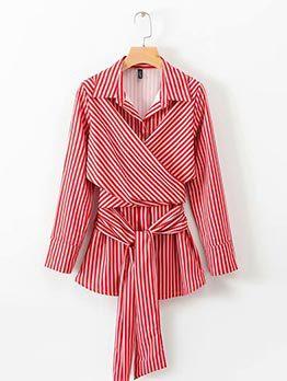 Striped Tie-Wrap Spread Collar Wrap Blouse