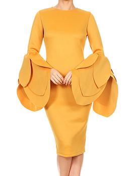 Hot Sale Solid Petal Sleeves Dress