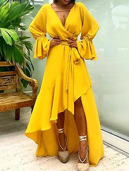 Sexy V Neck Asymmetrical Large Hem Dress