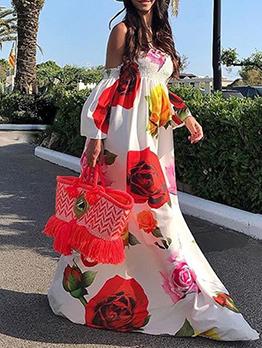 Wrapped-Chest Floral Large Hem Dress