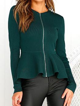 Solid Color Zipper Up Coats For Women