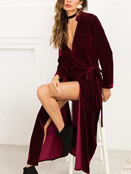 Euro Tie-Wrap Long Sleeve Loose Women Coat