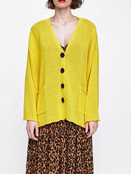 Autumn Single-breasted Pocket Knitting Coats