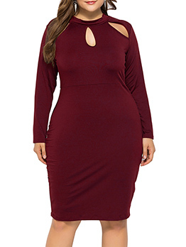 Sexy Hollow Out Long Sleeve Large Size Dress