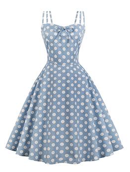Summer Spaghetti Straps Polka Dots Dress