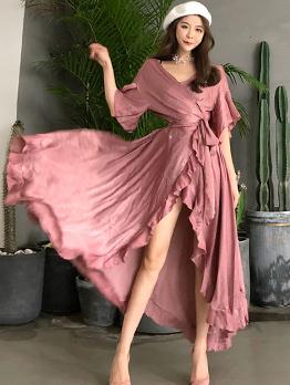 Fashion V-Neck Ruffles Maxi Dress For Women