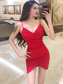 Sexy Spaghetti Strap Solid V-Neck Dress