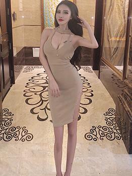 Sexy Halter Womens Sleeveless Dresses