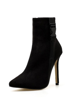 Sexy Zipper Up Solid Pointed Women Boots