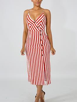 Euro V Neck Single-breasted Striped Sundress