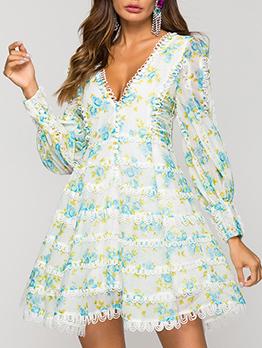 Summer Floral V-Neck Lantern Sleeve Boutique Dress