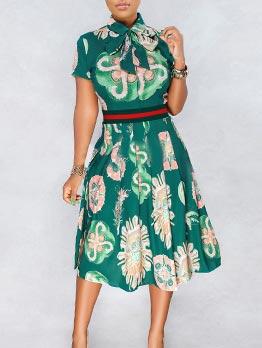 Euro Hot Sale Smart Waist Printing Pleated Dress