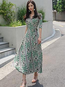 Korean Design V-Neck Floral Wrap Dress