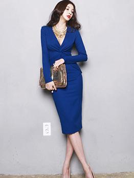 Korean Style Solid Split Fitted Women Dress