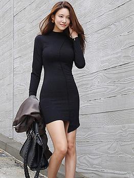 Sexy Fitted Solid Asymmetrical Hem Women Dress