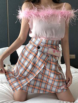 Fashion Spaghetti Straps Plaid Two Piece Outfits
