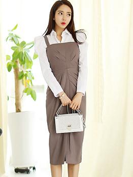 Korean White Blouses With Draped Suspender Dresses
