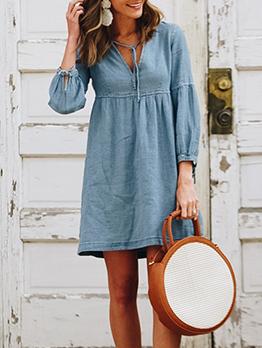Hot Sale Solid Lantern Sleeves Denim Dress