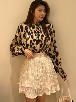 Chic Long Sleeves Vintage Leopard Print Top