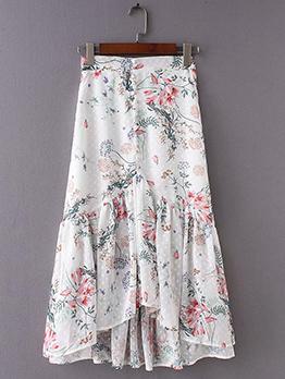 Elegant Floral Chiffon Fishtail Skirts