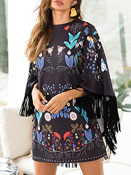 Modern Floral Tassels Bat Sleeve Dresses