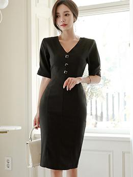Elegant V Neck Black Fitted Dresses