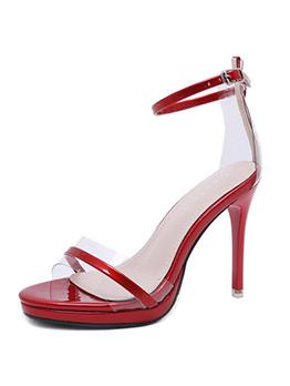 Korean Style A-Buckle Belt Clear High Heel Sandals