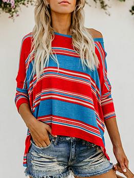 Hot Sale Striped Color Block Loose T-shirt