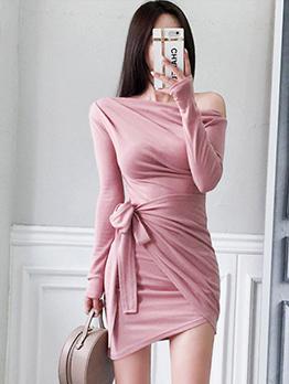 Inclined Shoulder Draped Tie-wrap Irregular Long Sleeve Dresses