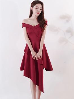 Elegant Off Shoulder Symmetrical Hem Female Dresses