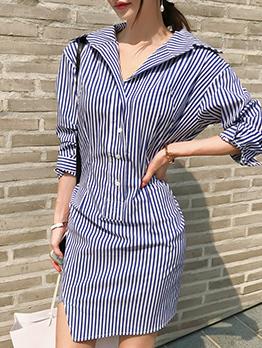 Striped Turndown Collar Button Up Long Sleeve Mini Dresses