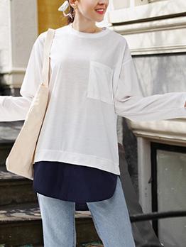 Plus Size Chest Pocket Patchwork Loose T-shirt