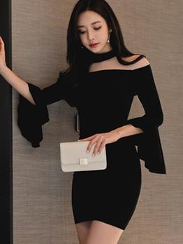 Sexy Gauze Patchwork Flare Sleeve Black Dresses