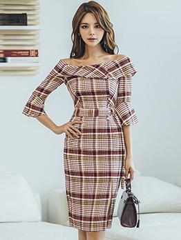 Korean Plaid Split Boat Neck Fashion Dresses