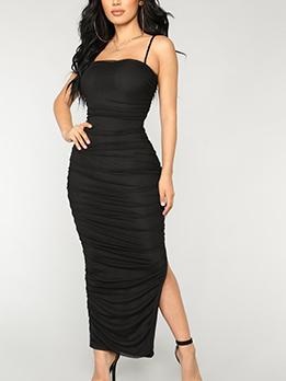 Euro Hot Sale Boat Neck Pleated Sleeveless Dress