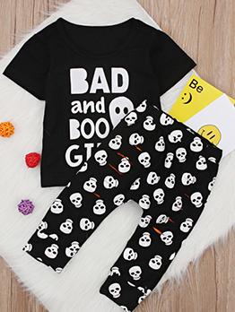 Halloween Ghost Letter Black With Skull Boys Pants