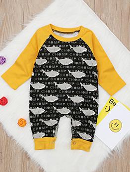Fashion Shark Letter Design Color Block Sleepsuit