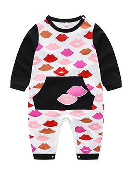 Cute Lip Printing Patchwork Long Sleeve Sleepsuit